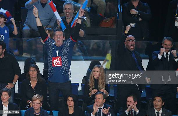JeanLuc Reichmann and his wife Pascal Obispo and his wife Julie Hantson attend the 25th IHF Men's World Championship 2017 Final between France and...