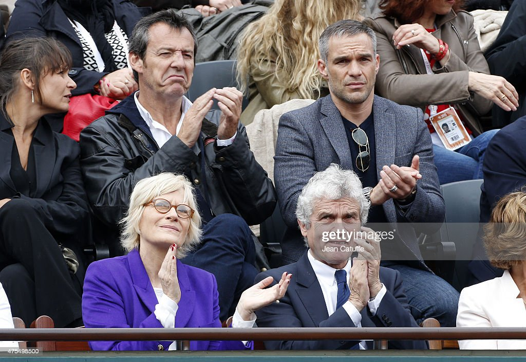 Jean-Luc Reichmann, his wife Nathalie Reichmann (left), Philippe Bas, below them Catherine Ceylac and husband Claude Serillon attend day 8 of the French Open 2015 at Roland Garros stadium on May 31, 2015 in Paris, France.