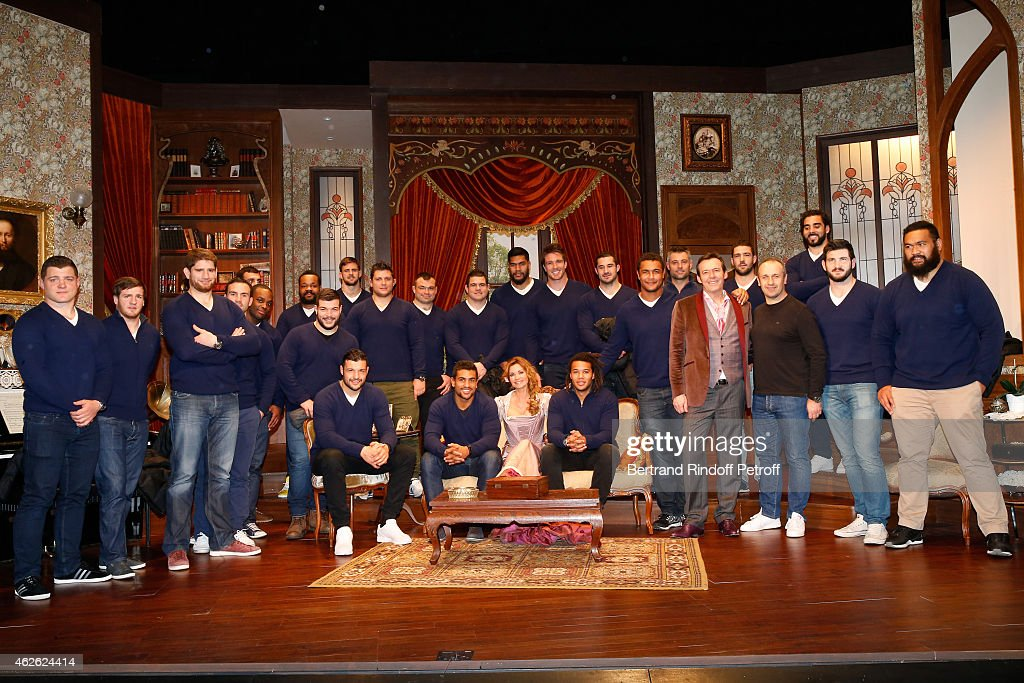 Jean-Luc Reichmann, Ingrid Chanvin, France Rugby Team Trainer Philippe Saint Andre and France Rugby Team attend France Rugby Team for '2015, 6 Nations Tournament' is Guest of Honor at Hibernatus Theater Play on January 31, 2015 in Paris, France.