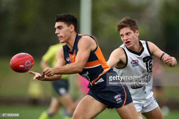 JeanLuc Velissaris of the Cannons handballs during the round four TAC Cup match between the Northern Knights and the Murray Bushrangers at RAMS Arena...