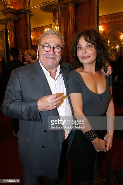 JeanManuel Bajen and Actress of the piece Isabelle Mergault attend the Theater Play 'Ne me regardez pas comme ca ' performed at 'Theatre Des...