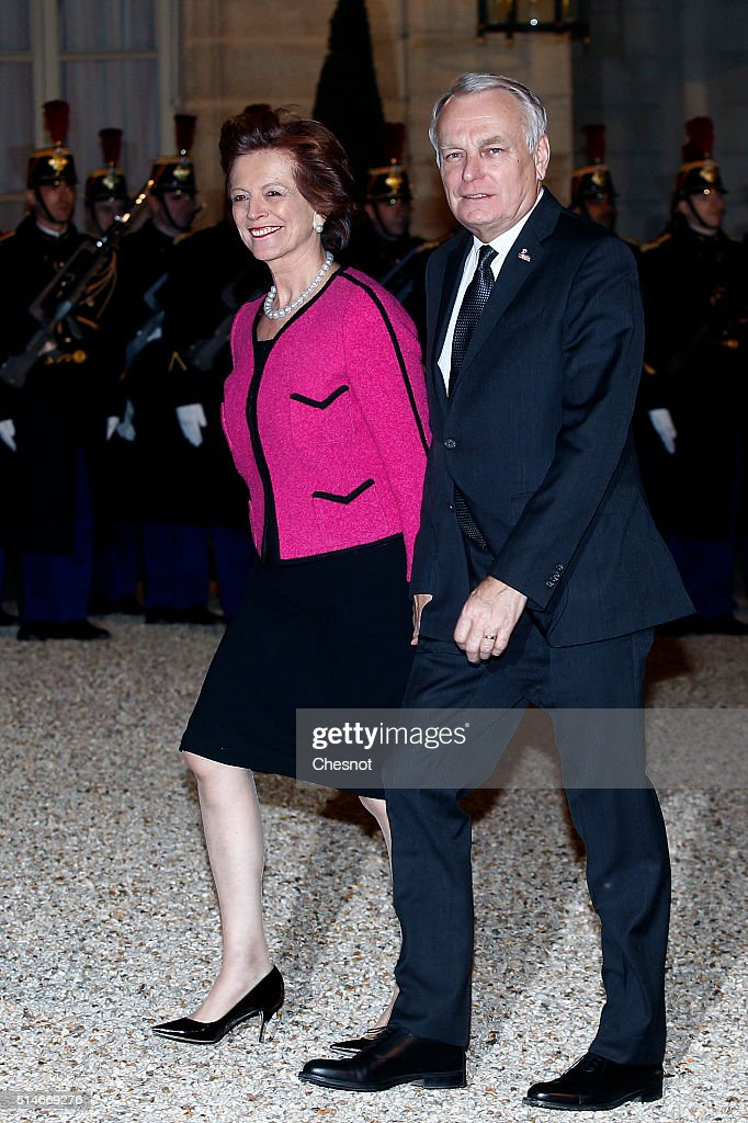 Jean-Marc Ayrault, French Minister of Foreign Affairs and International Development and his wife arrive to attend a state dinner with French President Francois Hollande, Queen Maxima of the Netherlands and King Willem-Alexander of the Netherlands at the Elysee Presidential Palace on March 10, 2016 in Paris, France. Queen Maxima and King Willem-Alexander are on a two-day state visit in France.