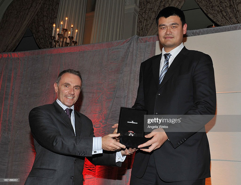 Jean-Marc Bories and NBA Great <a gi-track='captionPersonalityLinkClicked' href=/galleries/search?phrase=Yao+Ming&family=editorial&specificpeople=201476 ng-click='$event.stopPropagation()'>Yao Ming</a> attend the Girard-Perregaux and Asia Society event honoring NBA Great <a gi-track='captionPersonalityLinkClicked' href=/galleries/search?phrase=Yao+Ming&family=editorial&specificpeople=201476 ng-click='$event.stopPropagation()'>Yao Ming</a> with Steve Nash at Millennium Biltmore Hotel on February 19, 2013 in Los Angeles, California.