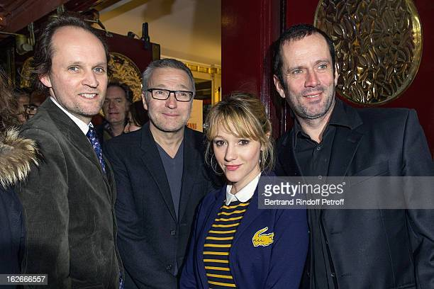 JeanMarc Dumontet Laurent Ruquier Julia Livage and Christian Vadim attend the 200th performance of the play 'Inconnu A Cette Adresse' at Theatre...