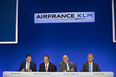 JeanMarc Janaillac chief executive officer of Air FranceKLM Group second right speaks as Pieter Elbers chief executive officer of KLM division of Air...