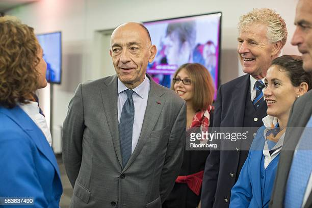 JeanMarc Janaillac chief executive officer of Air FranceKLM Group center speaks to cabin crew members ahead of a news conference to announce the...