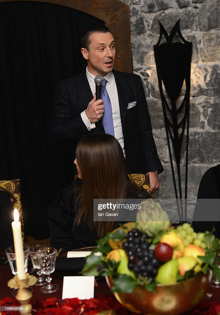 Jean-Marc Pontroue, CEO of Roger Dubuis talks at the Excalibur Dinner during the 23rd Salon International de la Haute Horlogerie at Caves des Vollandes on January 22, 2013 in Geneva, Switzerland.