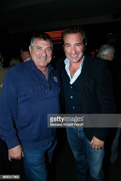 JeanMarie Bigard and Jean Dujardin attend Claude Lelouch celebrates his 80th Birthday at Restaurant Victoria on October 30 2017 in Paris France