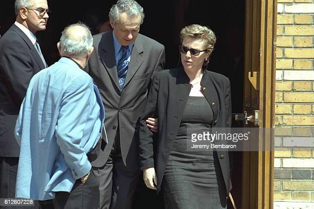 JeanMarie Cavada and Elise Lucet leaving Saint Honoré d'Eylau Church