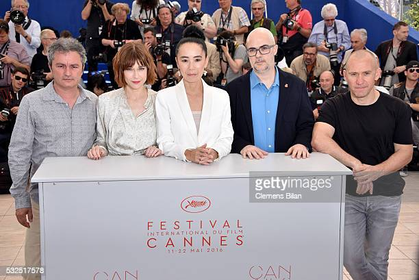JeanMarie Larrieu MarieJosee Croze Naomi Kawase Santiago Loza and Radu Muntean attend the Jury De La Cinefondation Des Courts Metrages Photocall...