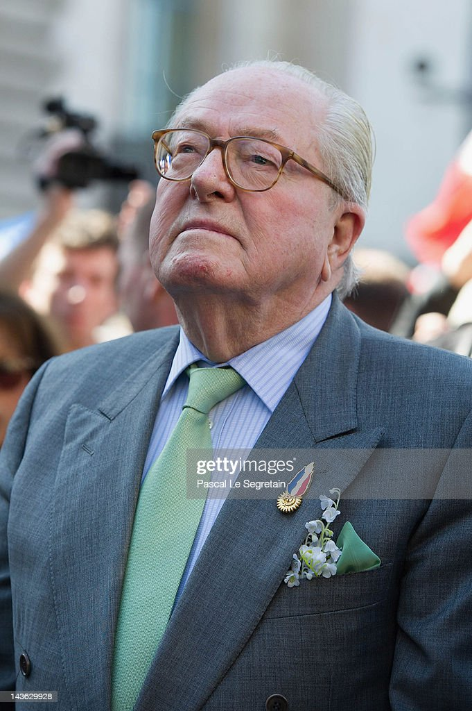 <a gi-track='captionPersonalityLinkClicked' href=/galleries/search?phrase=Jean-Marie+Le+Pen&family=editorial&specificpeople=214017 ng-click='$event.stopPropagation()'>Jean-Marie Le Pen</a> attends the French Far Right Party May Day demonstration on May 1, 2012 in Paris, France. Marine Le Pen, the daughter of the French far-right leader <a gi-track='captionPersonalityLinkClicked' href=/galleries/search?phrase=Jean-Marie+Le+Pen&family=editorial&specificpeople=214017 ng-click='$event.stopPropagation()'>Jean-Marie Le Pen</a>, received only 6.4 million votes in the first round of the presidential elections. Both Sarkozy and Hollande are now fighting to win support from the French Far Right ahead of the second round.