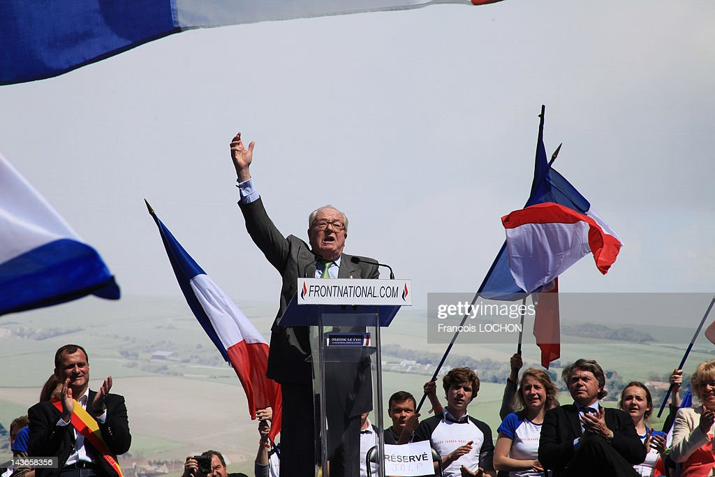 Jean-Marie Le Pen delivers a speech during the French Far Right Party May Day demonstration on May 1, 2012 in Paris, France. Marine Le Pen, the daughter of the French far-right leader Jean-Marie Le Pen, received only 6.4 million votes in the first round of the presidential elections. Both Sarkozy and Hollande are now fighting to win support from the French Far Right ahead of the second round.