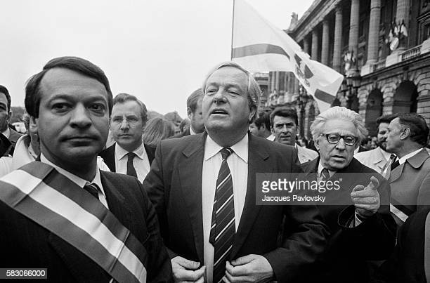 JeanMarie Le Pen leader of the extremist rightwing National Front and Dreux Mayor JeanPierre Stirbois attend a political rally at the statue of...