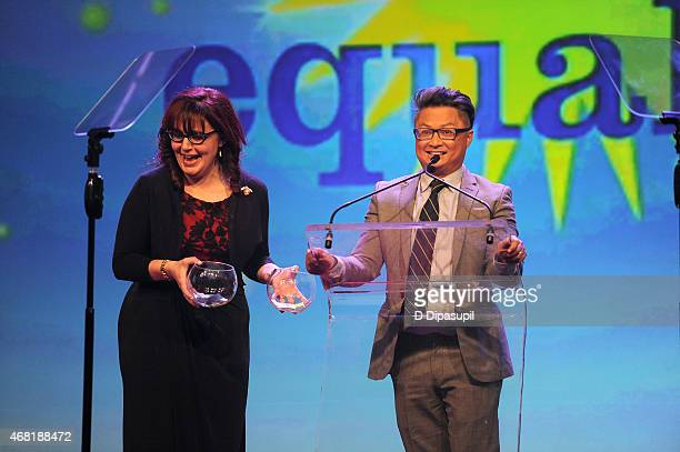 JeanMarie Navetta and actor Alec Mapa speak onstage at the 7th Annual PFLAG National Straight For Equality Awards Gala at The New York Marriott...