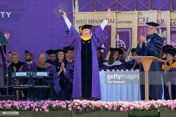 JeanMarie Pierre Lehn receives an honorary doctorate degree during the New York University 2017 Commencement at Yankee Stadium on May 17 2017 in the...