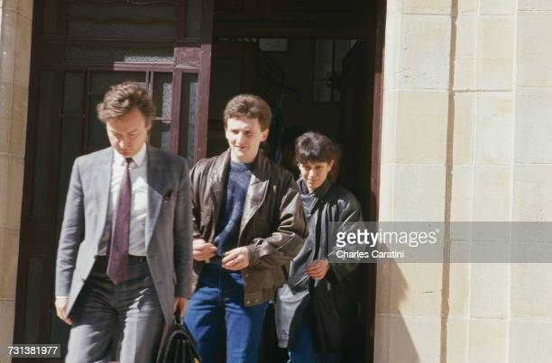JeanMarie Villemin and his wife Christine at the courthouse in Dijon France 22nd March 1988 They have been testifying before Judge Maurice Simon in...