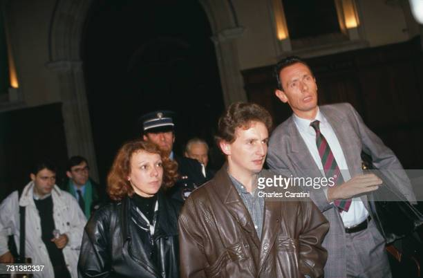 JeanMarie Villemin and his wife Christine at the courthouse in Dijon France to testify before Judge Maurice Simon in the case of the 1984 murder of...