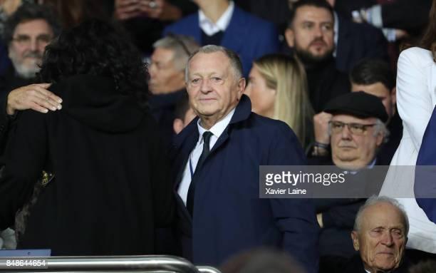 JeanMichel Aulas of Olympique Lyonnais reacts during the French Ligue 1 match between Paris Saint Germain and Olympique Lyonnais at Parc des Princes...