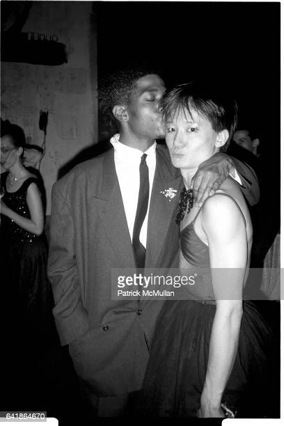 JeanMichel Basquiat and Benjamin Liu as 'Ming Vauze' at the opening night of the Palladium May 14 1985