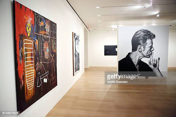 JeanMichel Basquiat painting Air Power 1984 is displayed during the David Bowie Collector Media Preview at Sotheby's on September 26 2016 in New York...