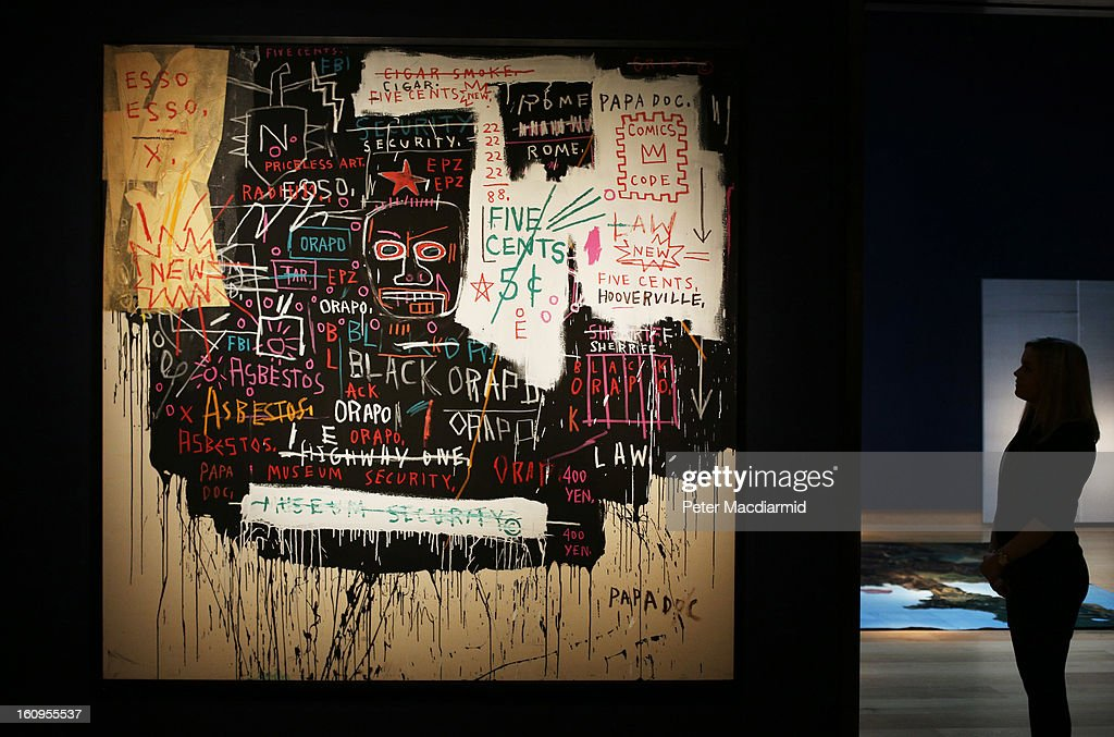 Jean-Michel Basquiat's 'Museum Security (Broadway Meltdown)' painting estimated at 7-9 million GBP is displayed at Christie's ahead of their Post War and Contemporary art sale on February 8, 2013 in London, England. Christie's will hold an evening sale of these works on February 13, 2013 and a day sale on February 14, 2013.