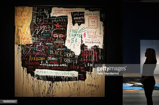 JeanMichel Basquiat's 'Museum Security ' painting estimated at 79 million GBP is displayed at Christie's ahead of their Post War and Contemporary art...