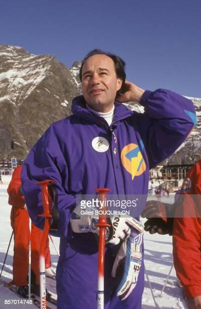 JeanMichel Baylet a la station de ski des HautesPyrenees le 19 janvier 1992 a Aragnouet France