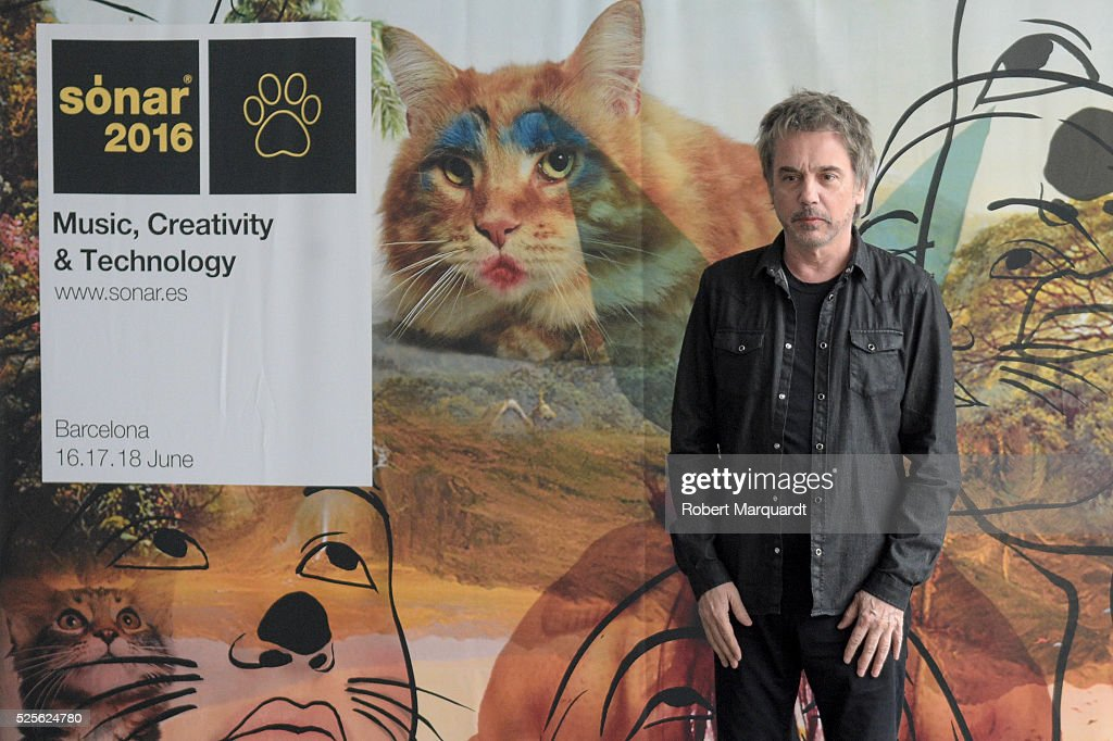 Jean-Michel Jarre poses during a photocall for his latest work 'Electronica Vol.2 The Heart of Noise' on April 28, 2016 in Barcelona, Spain. His latest live show will premiere June 17th during Sonar 2016 Festival in Barcelona, Spain.