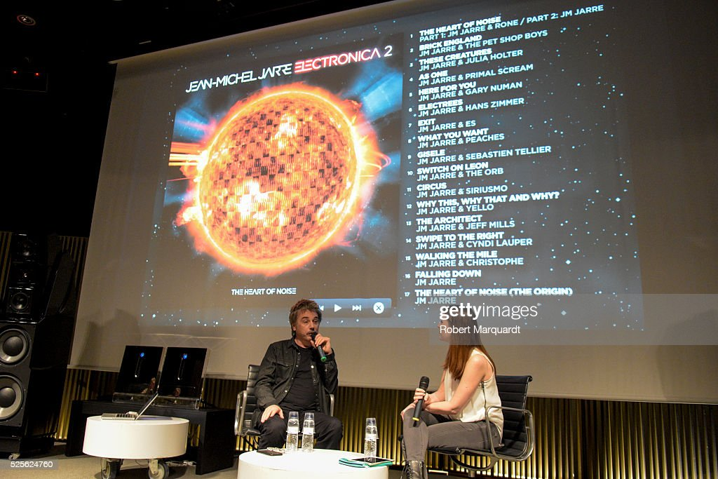 Jean-Michel Jarre presents his latest work 'Electronica Vol.2 The Heart of Noise' during a press presentation on April 28, 2016 in Barcelona, Spain. His latest live show will premiere June 17th during Sonar 2016 Festival in Barcelona, Spain.