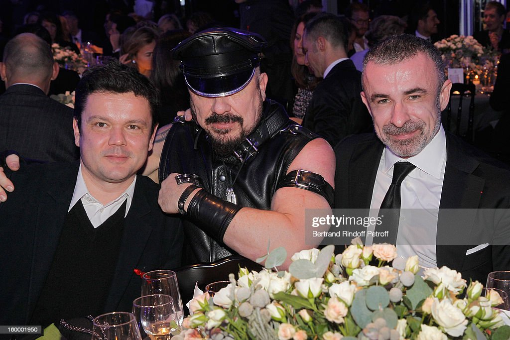 Jean-Michel Othoniel, Peter Marino and Alain Sebban attend the Sidaction Gala Dinner 2013 at Pavillon d'Armenonville on January 24, 2013 in Paris, France.