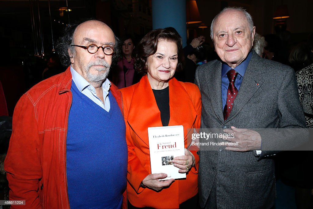 Jean-Michel Ribes, winner of the Prize Elisabeth Roudinesco for her book 'Sigmund Freud en son temps et dans le notre' and <a gi-track='captionPersonalityLinkClicked' href=/galleries/search?phrase=Pierre+Berge&family=editorial&specificpeople=770934 ng-click='$event.stopPropagation()'>Pierre Berge</a> attend the 'Prix Decembre' Literary Prize Award with 30,000 Euros at Theatre du Rond-Point on November 6, 2014 in Paris, France.