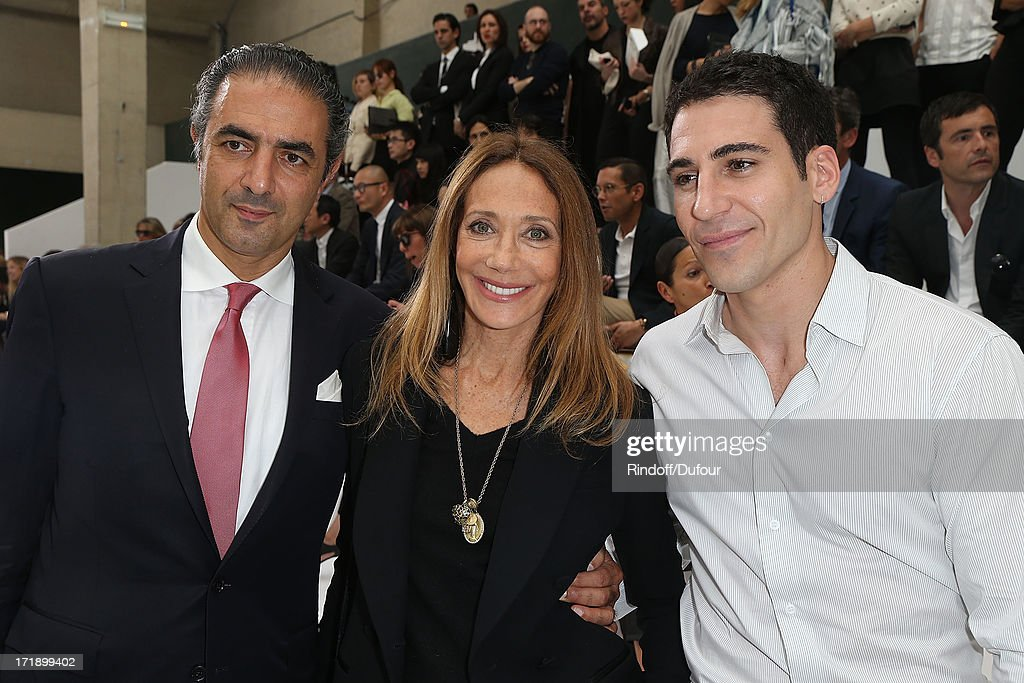 Jean-Michel Simonian, Marisa Berenson and Miguel Angel Silvestre attend Dior Homme Menswear Spring/Summer 2014 show as part of Paris Fashion Week on June 29, 2013 in Paris, France.