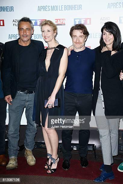 JeanMichel Tinivelli Alexandra Lamy Thierry Fremont and Zabou Breitman attend 'Apres Moi Le Bonheur' Paris Photocall at Cinema Gaumont Marignan on...