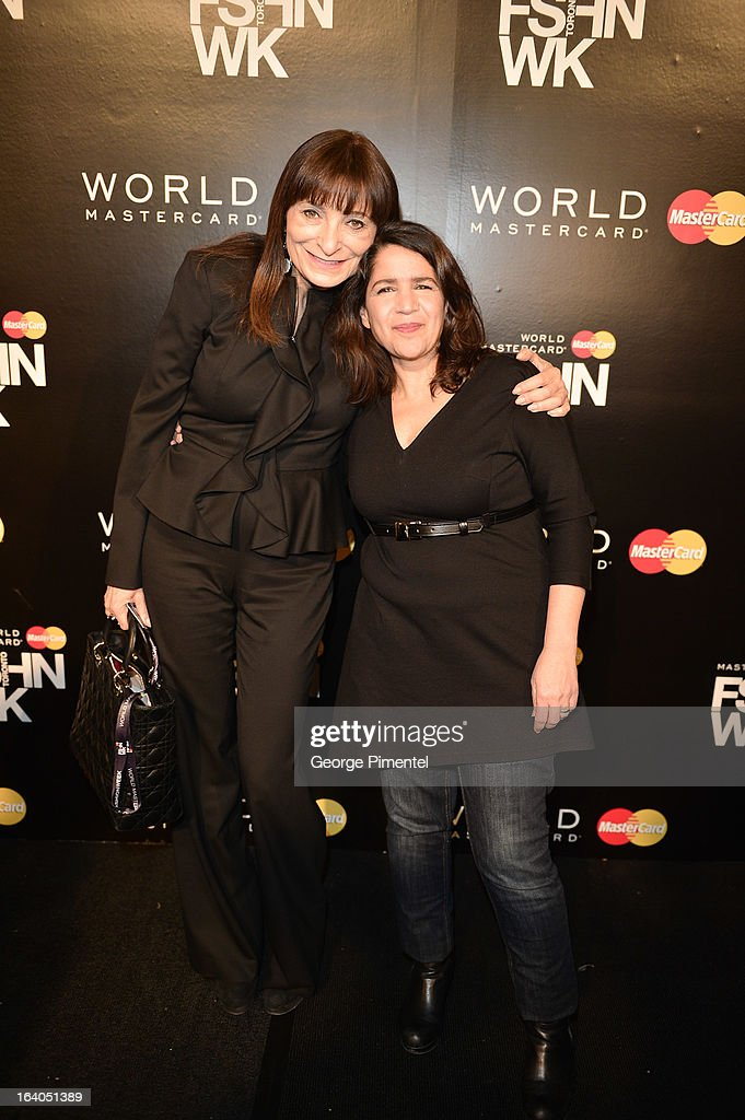 Jeanne Beker and Designer Izzy Camilleri attend World MasterCard Fashion Week Fall 2013 Collection at David Pecaut Square on March 18, 2013 in Toronto, Canada.