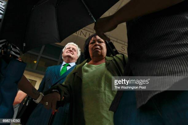 Jeanne Clarke Harris leaves the US District Courthouse after pleading guilty to illegal campaign contrabutions in Washington DC on Tuesday July 10...