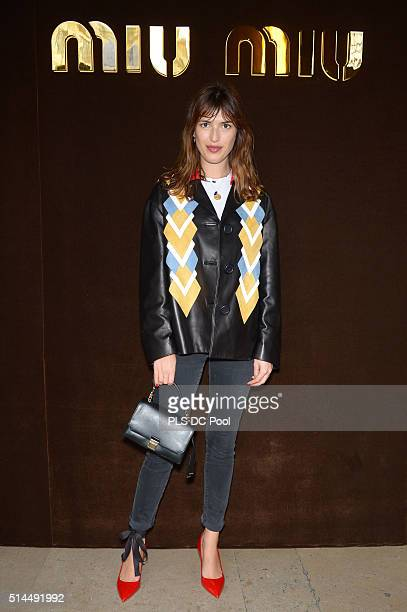 Jeanne Damas attends the Miu Miu show as part of the Paris Fashion Week Womenswear Fall / Winter 2016 on March 9 2016 in Paris France