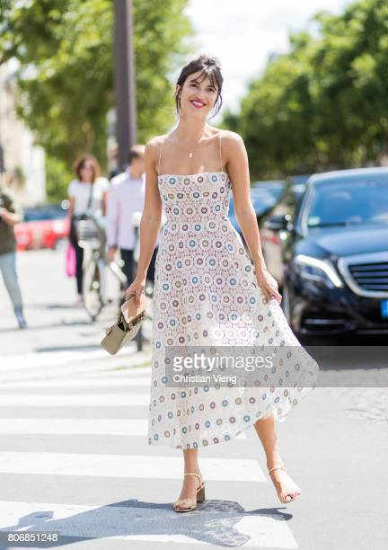 Jeanne Damas outside Dior during Paris Fashion Week Haute Couture Fall/Winter 20172018 Day Two on July 3 2017 in Paris France