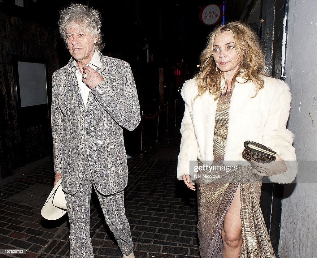 Jeanne Marine and Bob Geldof sighting leaving The Box, Soho on April 30, 2013 in London, England.
