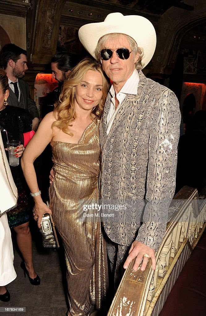 Jeanne Marine (L) and Sir Bob Geldof attend Fran Cutler's surprise birthday party supported by ABSOLUT Elyx at The Box Soho on April 30, 2013 in London, England.