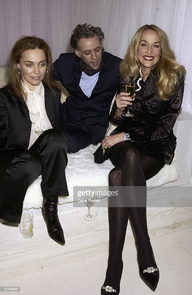Jeanne Marine, Bob Geldof and Jerry Hall attend the Nobu Restaurant 'Save The Children' Gala sponsored by Garrard Jewellers at The Metropolitan Hotel on March 13, 2003 in London.