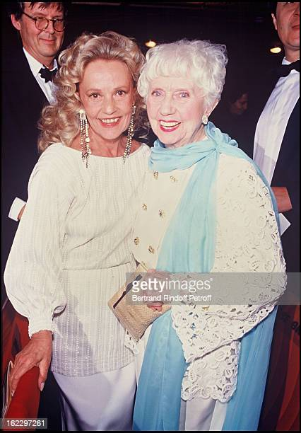 Jeanne Moreau and Denise Grey at the 'Molieres' French Theater Awards Ceremony 1987