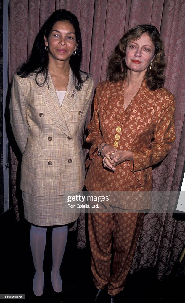 Jeanne MoutoussamyAshe and actress Susan Sarandon attend Third Annual Mother's Voice Luncheon on May 9 1994 at the Waldorf Astoria Hotel in New York...