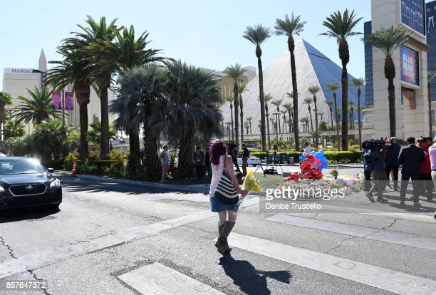 Jeanne Velez of Marysville Washington attends a memorial on Las Vegas Boulevard and Reno Avenue for the victims of the Route 91 Harvest country music...