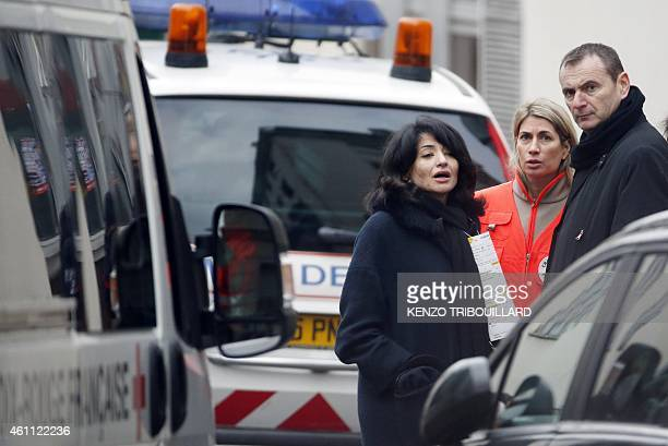 Jeannette Bougrab French former Youth and Associations Junior minister and partner of cartoonist Stephane Charbonnier aka Charb reacts outside of the...