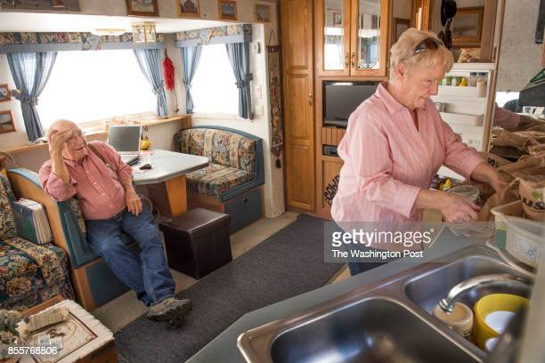 Jeannie and Richard Dever are 'Workampers' people who live in their camper and work in a camp or RV park in Ellsworth ME on June 22 2017 Workampers...