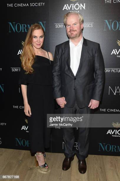 Jeannie Gaffigan and Jim Gaffigan attend a screening of Sony Pictures Classics' 'Norman' hosted by The Cinema Society at the Whitby Hotel on April 12...