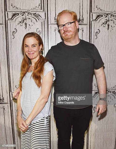 Jeannie Gaffigan and Jim Gaffigan attend the AOL BUILD Speaker Series Jim Gaffigan at AOL Studios In New York on May 26 2015 in New York City
