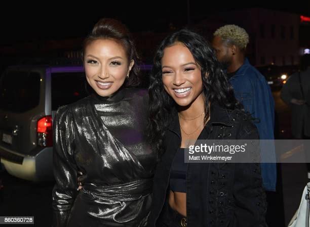 Jeannie Mai and Karrueche Tran at TBS' Drop the Mic and The Joker's Wild Premiere Party at Dream Hotel on October 11 2017 in Hollywood California...