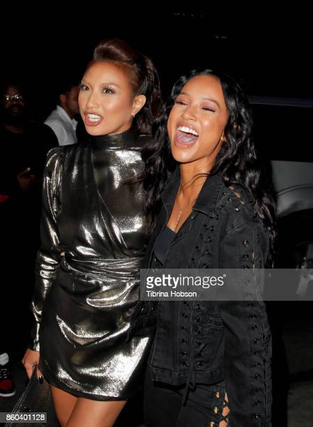 Jeannie Mai and Karrueche Tran attend the premiere for TBS's 'Drop The Mic' and 'The Joker's Wild' at The Highlight Room on October 11 2017 in Los...