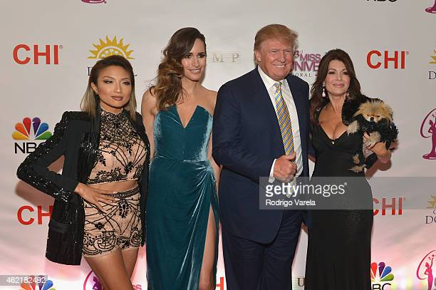 Jeannie Mai Louise Roe Donald J Trump and Lisa Vanderpump attend The 63rd Annual Miss Universe Pageant at Trump National Doral on January 25 2015 in...
